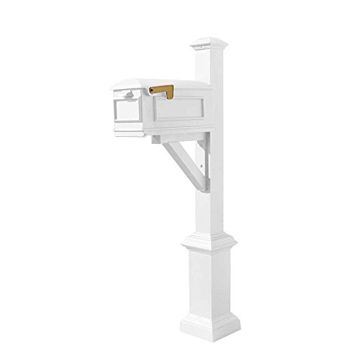 (Qualarc WPD-SB1-S7-LMC-WHT Westhaven Cast Aluminum Post Mount System with Lewiston Mailbox, Square Base and Pyramid Finial, Ships in 2 Boxes, White)