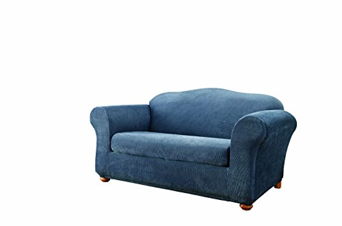Sure Fit Stretch Stripe 2-Piece - Loveseat Slipcover  - Navy (SF37635)