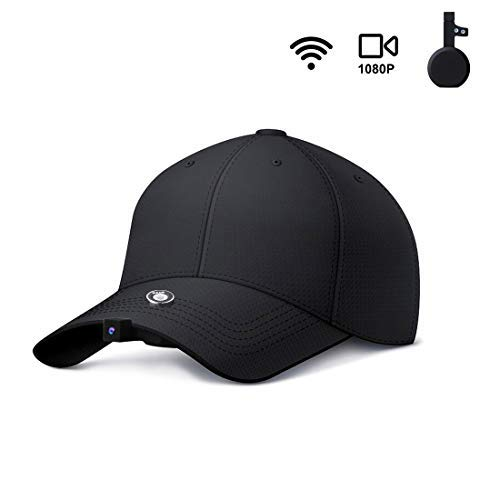 DYFZ 1080P HD Fishing Camera Hat Camera Cap Mini Camera Recording by Shaking Time-lapse Video Wifi Auto Zoom Include 16GB Card for Outdoor Sports Running Cycling Climbing Hiking (Black) (Baseball Cap Spy Camera)