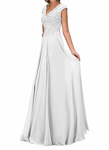 mit Abschlussballkleider Damen Promkleider Weiß Ausschnitt Neu V Partykleider Charmant Langes Abendkleider Chiffon dI6wORYq