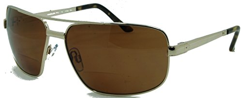 In Style Eyes Just Chillin Polarized Nearly Invisible Line Bifocal Sunglasses/Gold/2.50 Strength by In Style Eyes