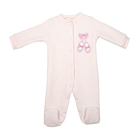 Baby Gear Baby Girl Pink Ballet Single Quilted Sleeper On Hanger 0-3M - Girls Pink Sleeper