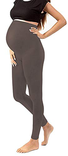 Maternity Tights Activewear Leggings Gym Clothes Jeggings Pants Stretch Nursing Clothes (One Size Fits All (Maternity), Brown)