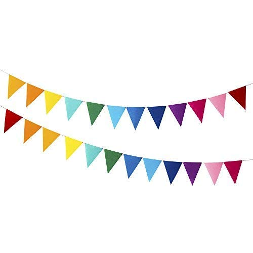 Every Cares Rainbow Felt Fabric Bunting, 24 Pcs/ 16.4 Feet(2 Pack) Decoration Banners for Birthday Party, Baby Shower, Window Decorations and Children's Living Room -