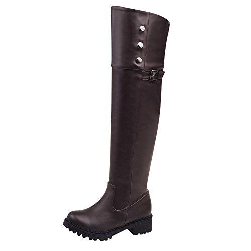 Mee Shoes Damen chunky heels Plateau Reißverschluss overknee Stiefel Braun