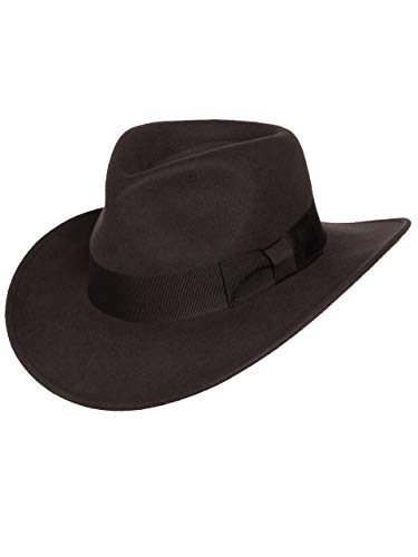 Men's Indiana Outback Fedora Hat Brown Crushable Wool Felt by Silver Canyon, Brown, Small -