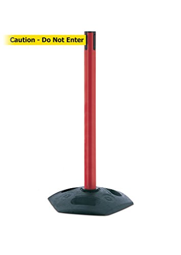 Tensabarrier 886-21-STD-NO-YAX-C Heavy Duty Outdoor Post with Red Tube, No Custom Yellow Webbing/Black