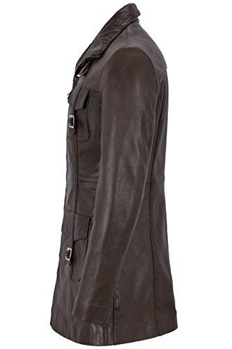 Gothique Style Dames 'veste Pour long 1310 Ajusté Cuir Mistress En Mi Brown S0qU4py