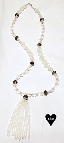 Hematite with Milk Glass Tassel Necklace