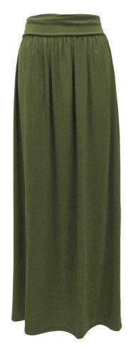 Amber Apparel - Jupe Femme Revers Jersey Haute Taille Longue - M/L, Kaki