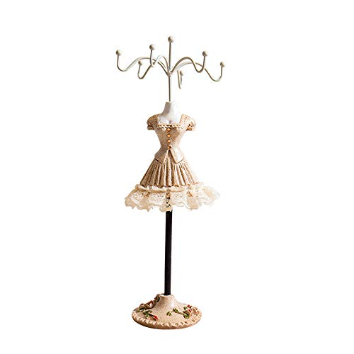 X Hot Popcorn Princess Skirt Rack Jewelry Holder Resin Dress Stand Hanging Necklace Earring Bracelet Rings Orgaziner (Champagne5)