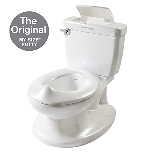 (Summer Infant My Size Potty - Training Toilet for Toddler Boys & Girls - with Flushing Sounds and Wipe)