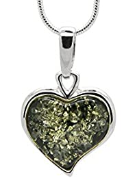 925 Sterling Silver Heart Pendant Necklace with Genuine Natural Baltic Amber. Chain included