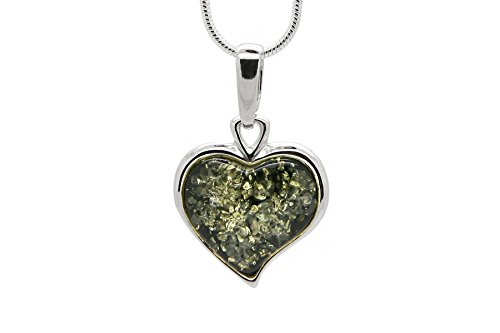 925 Sterling Silver Heart Pendant Necklace with Genuine Natural Baltic Green Amber. Chain - Necklace Silver Amber Green