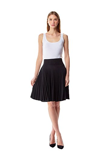 (MoDDeals Women's Skirt Pleated Flared Knee Length Long Mini Or Short Midi and Maxi for Office Casual Or Dressy Party (Small, Black Knee Length))