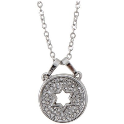 (Star of David Necklace with Pendant (Round Pendant with Star of David Cutout))