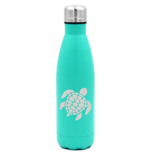 17 oz. Double Wall Vacuum Insulated Stainless Steel Water Bottle Travel Mug Cup Sea Turtle (Light-Blue)