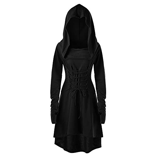 VEFSU Dress Party Women Costumes Lace Up Hooded Vintage Pullover High Low Bandage Long Dress Cloak Black -