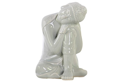 Buddha Head Statue Ceramic (Urban Trends Ceramic Sitting Buddha Figurine with Rounded Ushnisha and Head Resting on Knee Gloss Finish Gray, Gray)