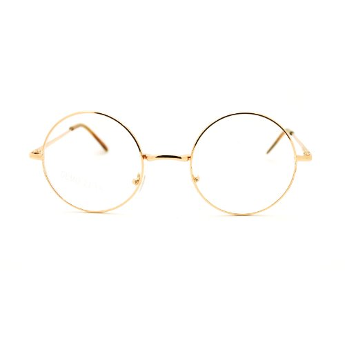 Gold 70s Hippie John Lennon Circle Lens Imagine Groovy Wire Rim Fashion - Glasses Circle 70s