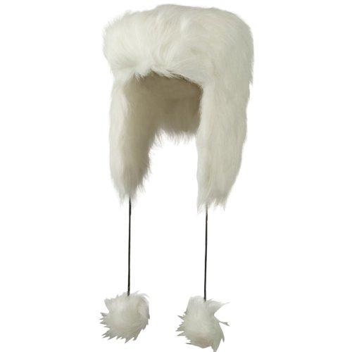 Woman's Faux Fur Pom Pom Trooper Hat - White OSFM