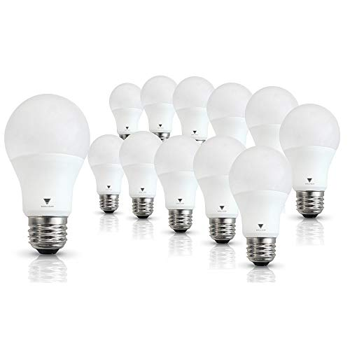 Triglow T95134-12 LED A19 Bulb 9-Watt (60W Equivalent) Deco White (3500K) 800 Lumen Light Bulb, 12 Pack ()
