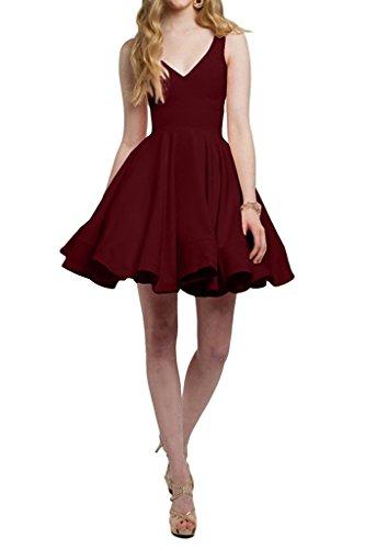Abendkleider Braut La Cocktailkleider Partykleider V Tanzenkleider Violett Burgundy Mini Einfach Ausschnitt Heimkehr Marie zT5q6