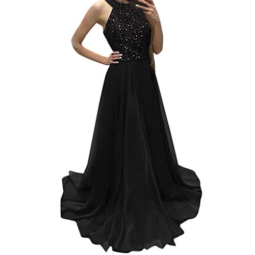 Prom Black Dress,Women Formal Party Ball Gown Sexy Evening Bridesmaid Halter Long Dresses by MEEYA