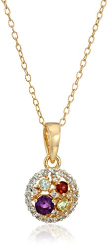 18k Yellow Gold and Rhodium Plated Sterling Silver Multi Gemstone Round Pendant Necklace, 16