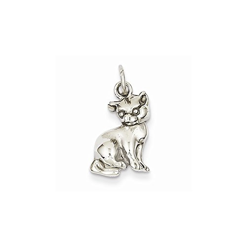 Mireval 14k White Gold Cat Charm (11 x 21 mm) (Cats Charms White 14k Gold)