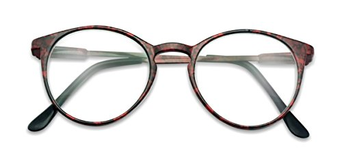 Classic Thin Horn Rimmed RX Optical Round Keyhole magnification Reading Glasses Unisex (Red Marble, ()