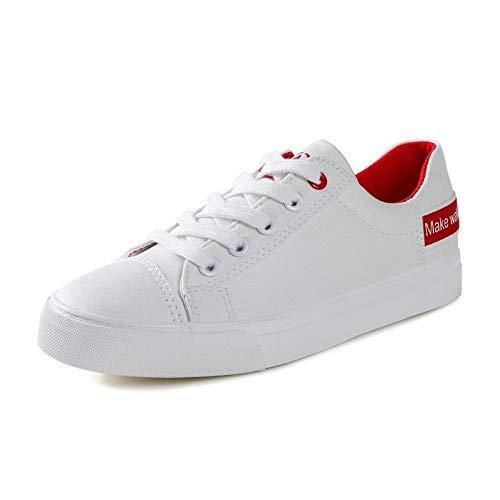 Estudiante Deportivos Planos Zapatos White Zapatos Primavera Zapatos Blancos Red Femeninos Zapatos nuevos de Femenina de Zapatos Lona Hasag dPXxAZA