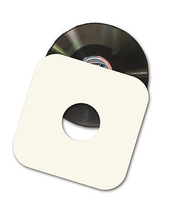 """100 12"""" LP / Album White Paper Vinyl Record Sleeves / Protectors - Heavy 20# Weight Paper With Hole For Viewing Label -"""