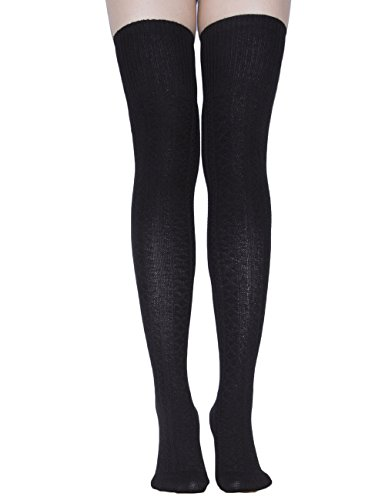 TooPhoto Cotton Women Dresses Campus Tube Thigh Over Knee High Stockings Socks C1 Black