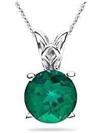 2.93-3.10 Cts of 10 mm AAA Round Lab Created Emerald Scroll Solitaire Pendant in 14K White Gold