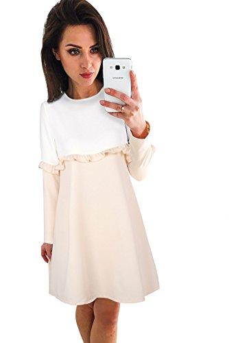 Moda Vestito Elasticizzati Eleganti Larghi Deaman Lunga Abito Girocollo Traspirante Donna Fasciante Casual Bianco Manica Abiti 1lKFJc