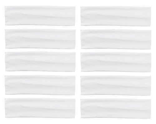 Styla Hair 10 Pack Yoga Headbands - Elastic Cotton Multi-Function Sports Head Bands Stretchy Wraps (White) -