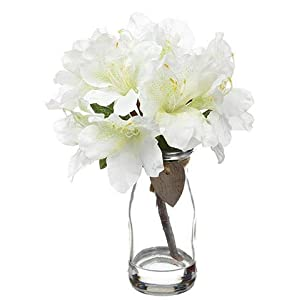 "Afloral White Rhododendron Silk Flower Arrangements - 9"" Tall 1"