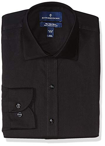 (BUTTONED DOWN Men's Slim Fit Stretch Twill Non-Iron Dress Shirt, Black, 17.5