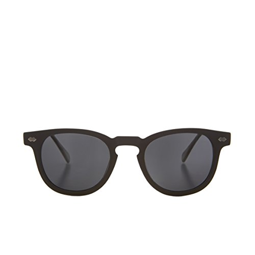 Matte Black James Dean Style Horn Rim Sunglasses with Gray Lens - - Benson Sunglasses