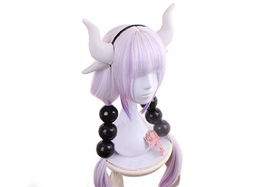 Dragon Maid Kanna Kamui Wig Light Purple High Temperature Silk Long Wig (Unisex Wig 80's)