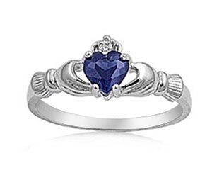 9MM 2ctw Sterling Silver Simulated BLUE SAPPHIRE HEART IRISH ROYAL Claddagh Ring 4-10 (10) (Irish Claddagh Ring Sapphire)