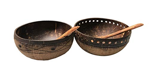 Set Ironwood - Gula, Natural Engraved Coconut Bowls and Spoons Set of 2, by Gratefully Kitchenware, Artistic Creative Designs, Handcrafted, used as Tableware or Garden Coconut Shell Hanging Planter Pots, Flower Pots