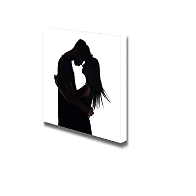 Canvas Prints Wall Art - Silhouette of Two Lovers Romantic Couple | Modern Wall Decor/Home Decoration Stretched Gallery Canvas Wrap Giclee Print & Ready to Hang - 24