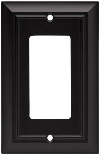 Brainerd 64216 Architectural Single Decorator Wall Plate / Switch Plate / Cover, Flat Black