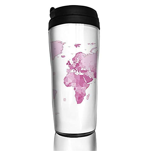 Stainless Steel Insulated Coffee Travel Mug,Continents Island Land Pacific Atlas Europe America,Spill Proof Flip Lid Insulated Coffee cup Keeps Hot or Cold 11.8oz(350 ml) Customizable ()