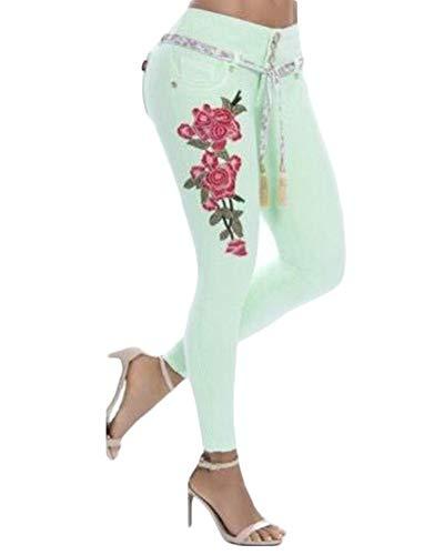 Crayon Skinny Fleurs Fit Jeggings Clair Brodes Denim Vert Jeans Stretch Pantalons Slim Femmes Pantalon fZTvwqTd6