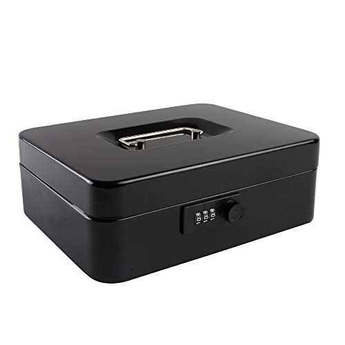 - Cash Box with Combination Lock Safe Metal Money Box with Money Tray for Security Lock Box 9.84