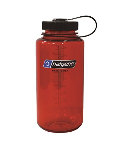 Nalgene Tritan Wide Mouth BPA-Free Water Bottle, Lollipop Red, 32 ()