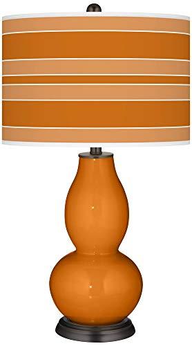 Cinnamon Spice Bold Stripe Double Gourd Table Lamp - Color + Plus
